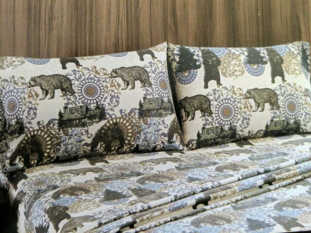 Remington Queen Sheet Set 4 PC Bears Hunting Lodge Cabin Outdoors