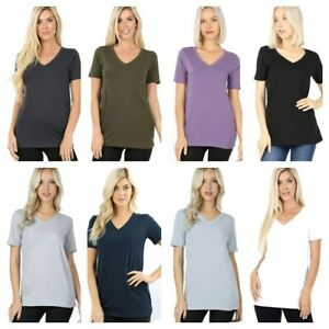 Plus-Size-Cotton-V-Neck-Short-Sleeve-T-Shirts-GOOD-QUALITY-TEE-Loose-Fit-Tee
