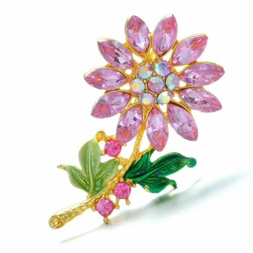 New Fashion Women Sunflower Brooch Pin Jewelery Gift gold plated Sweater Crystal