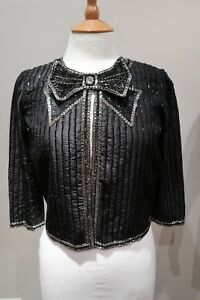 34 Topshop Crop Bnwt 95 Trophy 2 Bow Uk £ raro Us Eur Sequin Jacket 6 Lusso 1vTx1