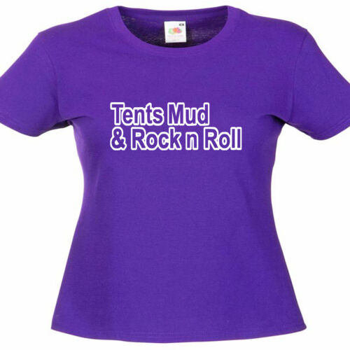 Tents Mud Rock N Roll Festival Ladies Lady Fit T Shirt Size 6-16