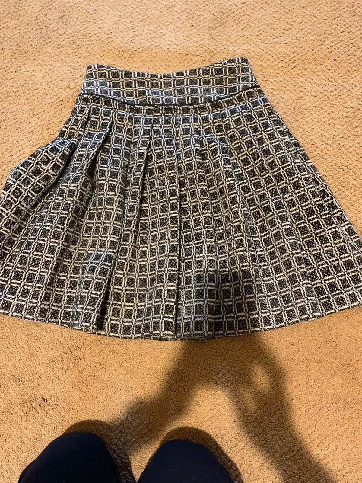 Tracy Reese Brown Beige Geometric Print Wool A-Line Skirt Size 2 Nwts