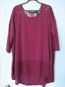 Denim-24-7-Womens-Plus-Size-2x-Tunic-top-Fuchsia-Pink-Lace-Chiffon-hem-Knit-soft