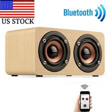 Wooden Portable Bluetooth Speaker Wireless Retro Bluetooth Speaker 3D Dual US