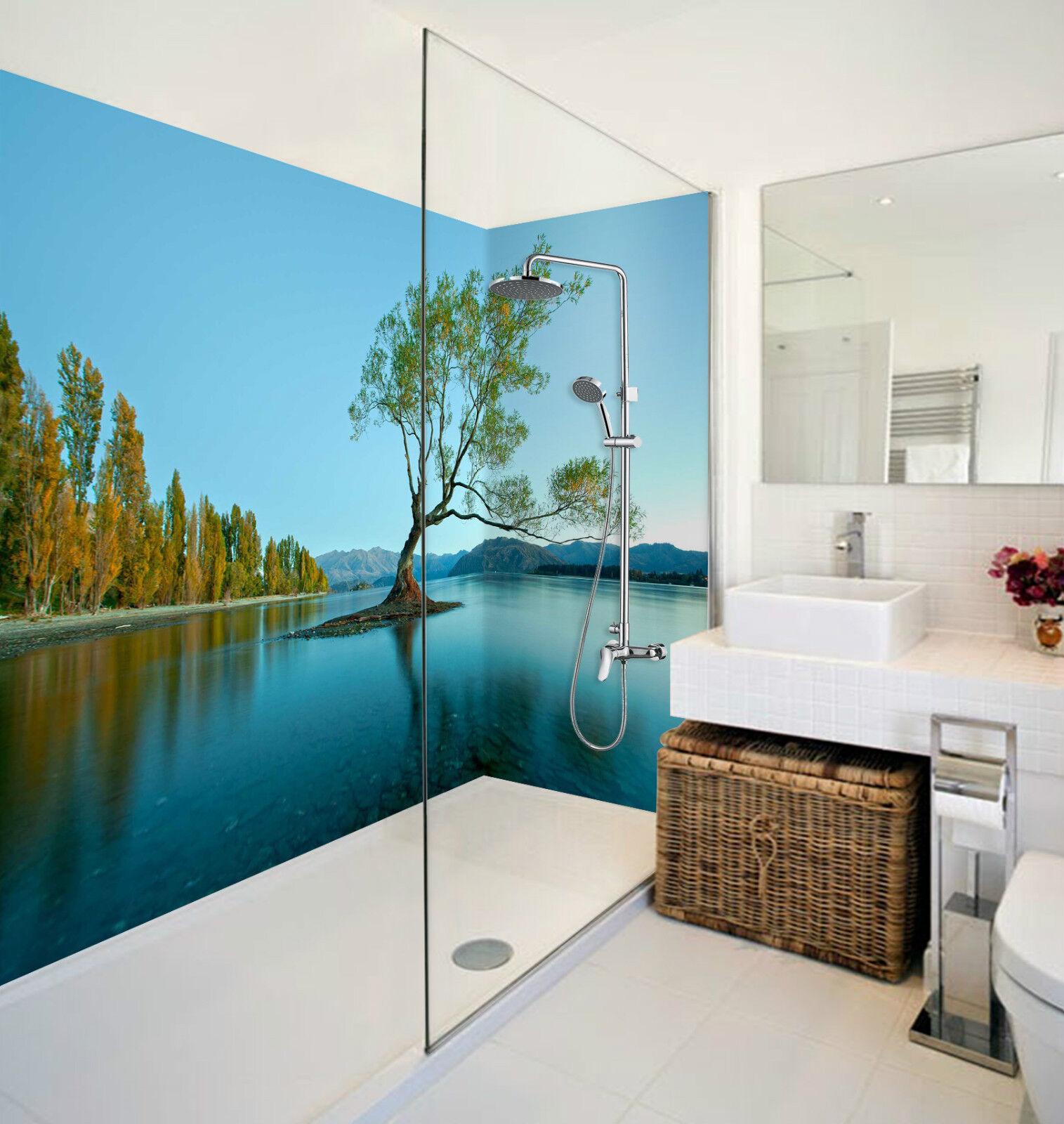 3D bluee Lake Tree 150 WallPaper Bathroom Print Decal Wall Deco AJ WALLPAPER CA