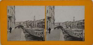 Venezia Il Pont Rialto Italia Foto Stereo Vintage Analogica c1900
