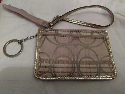 COACH Plaid Tartan Lavender Beige Gold W/Metallic Gold Trim ID/Coin Wallet RARE