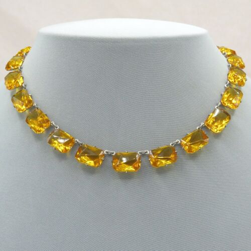 Vtg 1930's Art Deco Amber Gold Faceted Glass Open