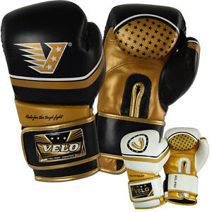 VELO-Leather-Boxing-Gloves-Sparring-Punch-Bag-Muay-Thai-kickboxing-Training