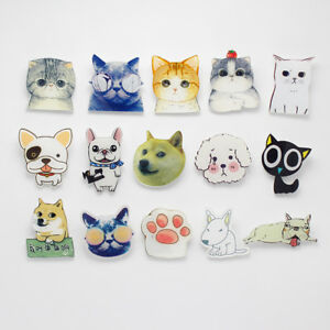 Cat-Dog-Acrylic-Badges-For-Clothing-Backpack-Plastic-Tiny-Cute-Animal-Pin-Brooch