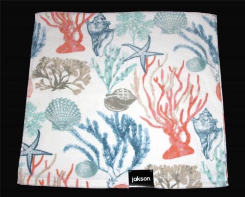 2 JAKSON Seashells Coral Starfish Sea Life Ocean Soft Velour BATH Towels NWT