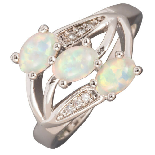 White Fire Opal Three 6x8mm Oval Cabochon Silver Cocktail Ring UK Size L N P R