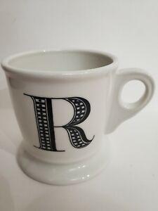 Anthropologie Coffee Mug Monogram R Cup White Black Letter Initial Large