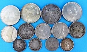 Einfach 13x Ägypten Silber Münzen Lot Piastres Nasser König Faruk I. Farouk Qirsh 197 Gr