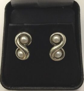 0a2ad226f Tiffany & Co Vintage Sterling Silver Infinity Pearl Stud Earrings | eBay