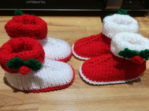 2 designs to choose from. Hand Knitted 0 To 3 Months Christmas  Baby Bootees