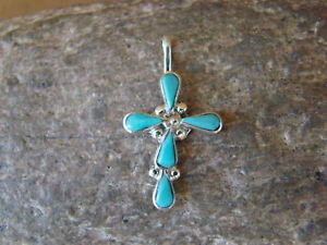 Zuni-Indian-Jewelry-Sterling-Silver-Turquoise-Cross-Pendant-by-Bryce-Vacit