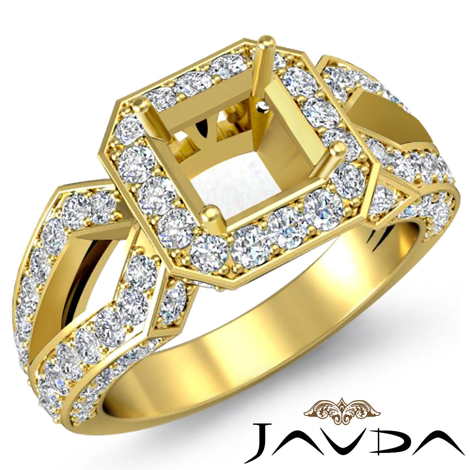 Diamond Engagement Filigree Ring Asscher Shape Semi Mount 14k Yellow gold 1.4Ct