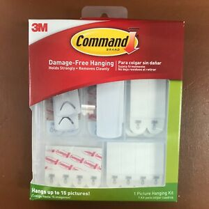 Details about 3M Command Picture Hanging Kit with Large Small Poster Strips  Sawtooth Wireback