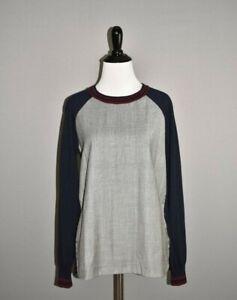 J-CREW-98-Merino-Wool-Glen-Plaid-Panel-Sweater-Small