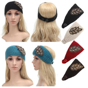 fbb06308d49384 Image is loading Women-Crochet-Knit-Winter-Headband-Rhinestone-Bead-Hairband -