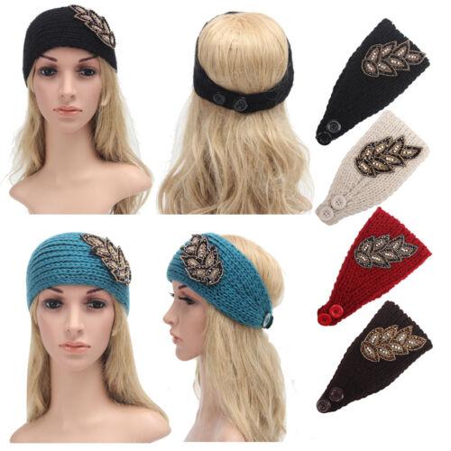 Femmes Crochet Tricot Hiver Serre-tête Strass Perle Bandeau Head Wrap Ear Warmer