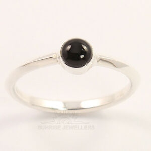 5185540ea0a56 Details about Tiny Small Cute Ring All Size 925 Sterling Silver Natural  BLACK ONYX Gemstone