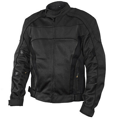 Xelement Conquest Men's Black Tri-tex/Mesh Armored Motorcycle Jacket