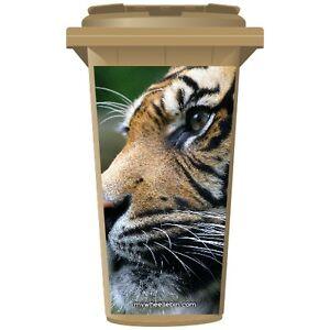Big Cat tigres cara Wheelie Bin pegatina Panel  </span>