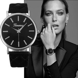Fashion-Women-Roman-Leather-Band-Analog-Quartz-Wrist-Watch-Black
