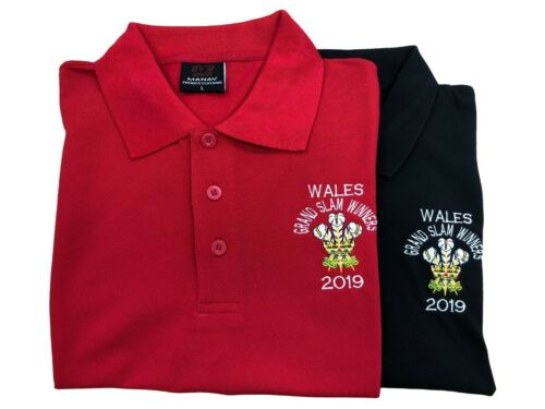 Wales Grand Slam 2019 Winners Wales Polo Shirts Red /& Black with Scores on Back