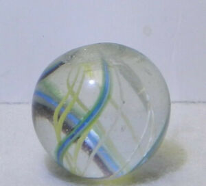 8112m Vintage German 2 Color White and Yellow Latticino Swirl Marble .67 In