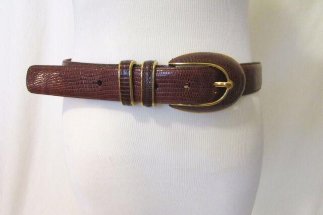 Lizard- Leather Belt Cale Women's Medium 32''-34'' Sarah PeckBrown NWOT