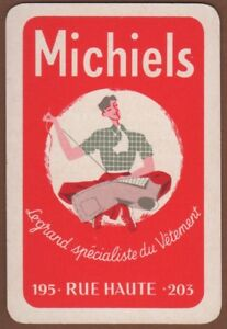 Playing-Cards-1-Single-Card-Old-Vintage-MICHIELS-Advertising-Art-MAN-TAILORING-1
