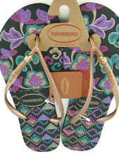 Havaianas Slim Royal Women's Floral Flip Flops,Black,New,9/10W,41/42EUR,0412