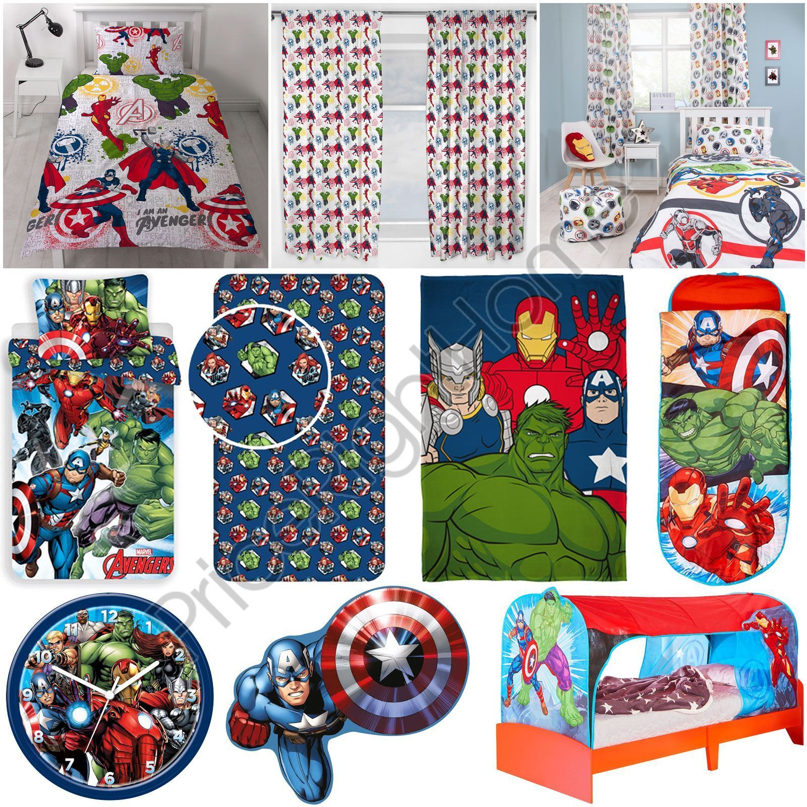 MARVEL AVENGERS - DUVETS CURTAINS CUSHION BLANKET WALL DECOR BED TENT & MORE