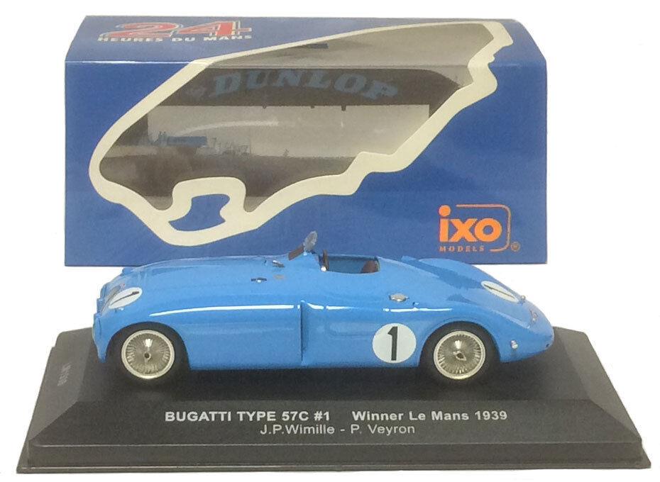 Ixo lm1939 Bugatti Tipo 57c Winner Le Mans 1939-wimille veyron 1 43 Escala