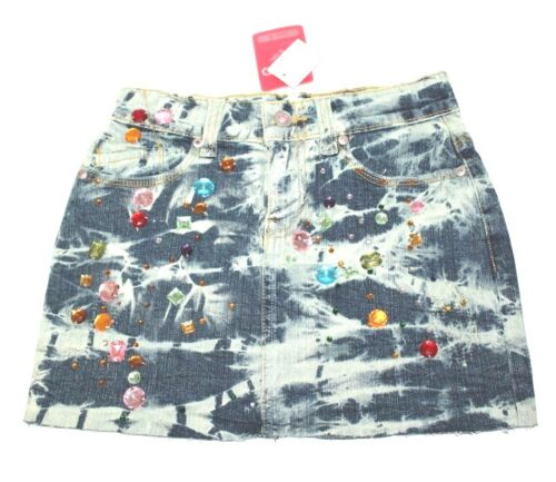 Denim Mini Skirt with Hand stitch multi Color Stones By Vivid Creativity