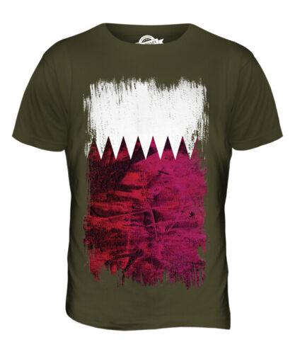 Qatar Grunge Drapeau Hommes T-Shirt Haut Qa Ar Football Riyal Cadeau T-Shirt