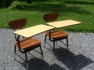 2 Vintage Same Wood / Metal School Desks W / Chairs - Very Good