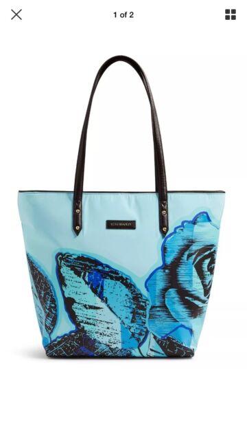 Vera Bradley Preppy Poly Large Ella Tote Bag In Blue Havana Rose