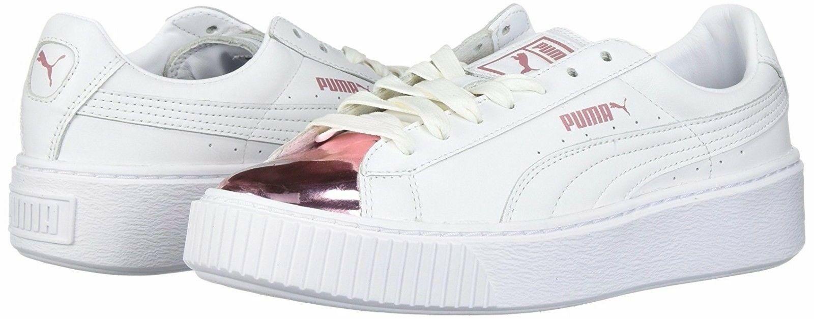 Women's PUMA Basket Basket Basket Platform Metallic Sneaker - 366169-04 White purplec Snow New 0fcaa5