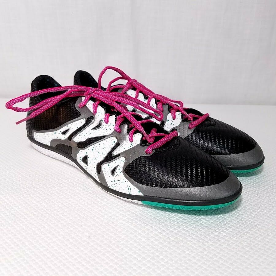 Adidas Mens X 15.3 IN Indoor Soccer Shoes S78182 Turf Black Teal Comfortable Cheap women's shoes women's shoes
