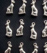 6 Gato Bastet encantos egipcio Bas Gato Encantos de Metal Tono Plateado 20mm