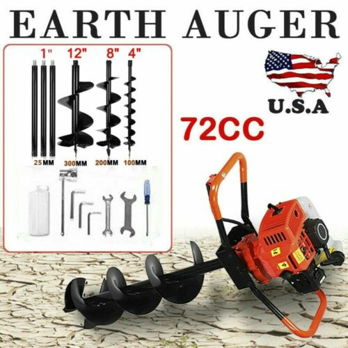 72CC 2Stroke Gas Post Hole Digger Earth Auger Petrol Powered Ground Drill /&3Bits