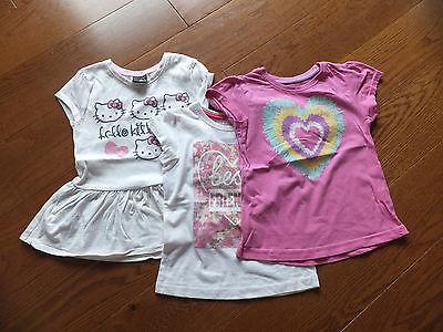 3x Ragazze Maniche Corte T-shirt. Tra Cui Hello Kitty. Età 6-8 Anni-mostra Il Titolo Originale