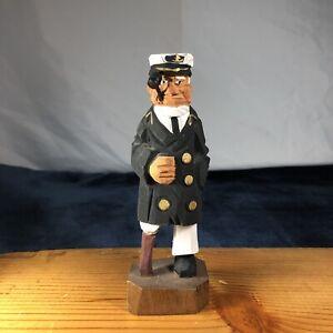 Details About Hand Carved Wooden Nautical Old Salt Captain Peg Leg Figuresailor Wooden Leg D8