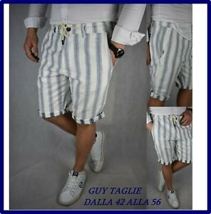 bermuda-short-pantaloncini-pantaloni-corti-uomo-bianca-fantasia-lino-cotone-m-l