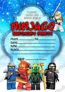 Lego Ninjago Birthday Party Invitation ninjago thank you cards x 8