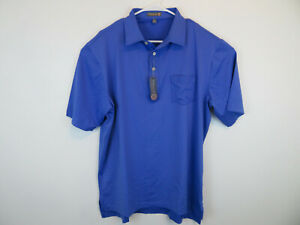 New-Peter-Millar-Golf-Summer-Comfort-Polo-Storm-Blue-Mens-Size-Large-85-MSRP